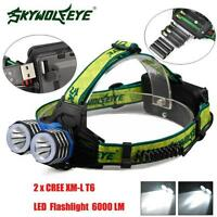 6000LM 2X XM-L T6 LED Rechargeable 18650 USB Headlamp Headlight Head Light Torch
