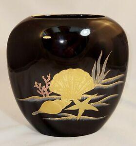 Vintage oval Black Otagiri Vase, gold accents, sea life, nautical, shells, Japan