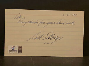 Signed Bill George Index Card HOF AUTOGRAPH Chicago Bears CERTIFIED AUTO