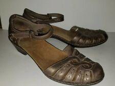 CLARKS metallic Mink Brown Fisherman Look Ankle Strap Comfort Sandals. 9 9.5