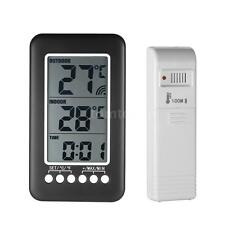Digital Indoor Outdoor Thermometer Clock Temperature Meter Wireless Transmitter