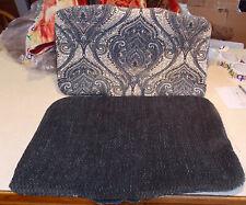 Pair of Blue Beige Print Bolster Decorative Print Throw Pillows 26 x 15