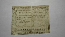 1761 Twenty Shillings North Carolina NC Colonial Currency Note Bill! RARE 20s
