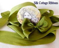 "2 Yards Silk Ribbon 1.25"" OLIVE GREEN / SILK COTTAGE RIBBON 1 1/4"" Inch"