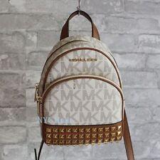 New Michael Kors Abbey Signature XSmall Studded Backpack Crossbody Vanilla NWT