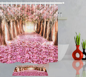 Christmas Pink Flower Tree Shower Curtain Set Waterproof Fabric Bathroom Hooks