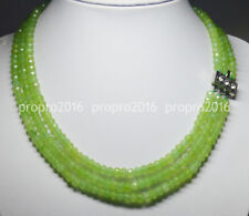 """Natural 4X6mm NATURAL PERIDOT FACETED BEADS NECKLACE 3 STRAND 18-20"""" PN1389"""