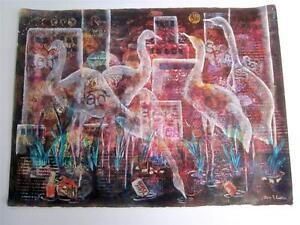 Modern Art Painting on Canvas, Listed Artist Jane Lubin, Endangered Species EX