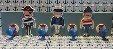 Pirate Nautical Theme Wooden Peg Rail by Gisela Graham Painted Blue
