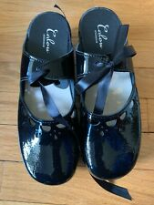 CALOU KNYTA BLACK PATENT LEATHER MULE SHOES SIZE 40 (NIB)