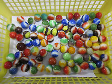 92 Vintage Playing Marbles- Bumblebees, 2 Color Opaques, Egg Yolks & Others