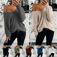 Women Off Shoulder Blouse Tops V Neck Pullover Holiday Shopping Casual T Shirt
