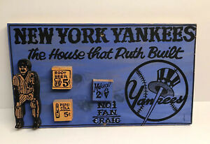 "VINTAGE SIGNED Harry Glaubach Artwork Wood Assemblage ""NEW YORK YANKEES 1994"""
