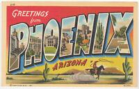 Phoenix AZ Large Letter Postcard Greetings from Phoenix Arizona Linen Curt Teich