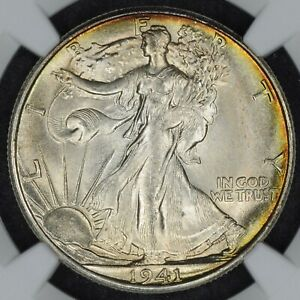 1941-S Walking Liberty Half Dollar NGC Uncirculated Details Beautiful Toning GEM
