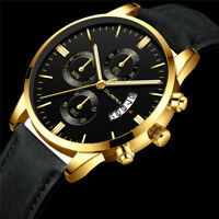 For Sport Men's Stainless Steel Case Leather Band Quartz Analog Wrist Watch Gift