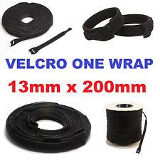 100 X Marca De Velcro ® 20 Mm x 200 mm una envoltura de cable Tie Hook & Loop ordenado Correa Negro