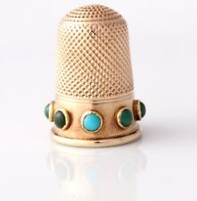 Victorian 15ct Gold Thimble. Turquoise Cabochons. Leather Case. Antique c1860