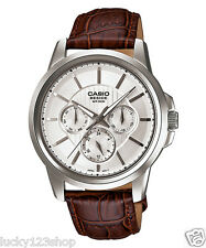 BEM-307L-7A White Casio Men's Watches Genuine Leather Band Analog New