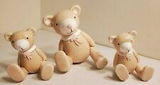 Set of 3 Ceramic Teddy Bears Wall Decor Wall Hanger Home Decor Kids Childs Room