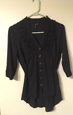 Love Haight Women 3/4 Sleeve V-Neck Blouse Size S Black Ruffled