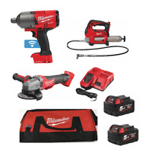 "Milwaukee 3 Piece Kit 3/4"" Impact Wrench, Grease Gun & Angle Grinder 2 Batteries"