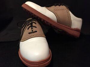 Callaway Golf Footwear - Nordstrom, SZ 7 1/2N, Broadmoor White with Tan, Cleats