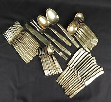 Vtg bronze flatware Pure Thailand SA set service for 12 mid century 52 pcs