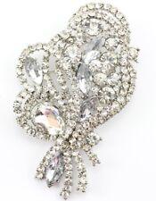 Decorative Bridal Wedding Brooch Pin Clear Fine Austrian Rhinestone Crystal