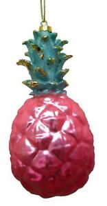December Diamonds Pink Pineapple Glass Christmas Ornament Decoration 79-81166