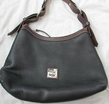 DOONEY & BOURKE handbag large hobo black pebbled leather brown strap FAB