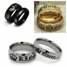KING QUEEN Couple ring wedding anniversity gift stainless steel Birthday Xmas
