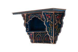 Painted Moroccan shelf, Wall Shelves Floating Shelves Blue Vintage, Blue vintage