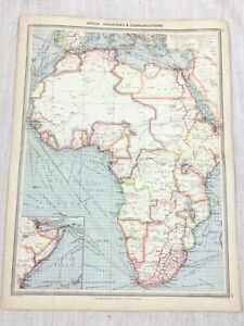 1909 Antique Map of Africa African Industrial Communications George Philip