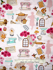 Homemaker Theme Fabric - Sew Bake Cook Kitchen RJR #2356 Home Sweet Home - Yard