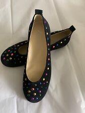 Naturino Black Suede Multi Color Studded Ballet Flats Sz 32 Girls US 1 Excellent