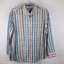 Alan Flusser Men's Long Sleeve Blue/Orange Plaid Button Down Cotton Shirt Sz XL