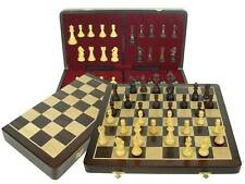 "Tournament Chess Set 20"" Folding Board Wtd Pcs. Dbl Qns"