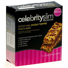 3 boîtes - Celebrity SLIM Snack Barres - QUI DONNE SATISFACTION Sticky Toffee (5