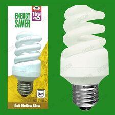 2x 15W (=75W) Quick Start Low Energy CFL Spiral Light Bulb, ES, E27, Screw Lamp