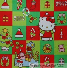 BonEful Fabric FQ Cotton Quilt Red Green HELLO KITTY Girl Patchwork Block Square