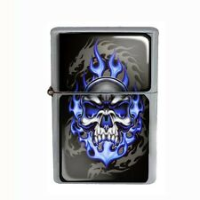 Wind Proof Dual Torch Refillable Butane Lighter Skull D 15 Blue Flames on Fire