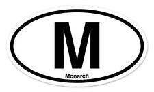 "M Monarch Oval car window bumper sticker decal 5"" x 3"""