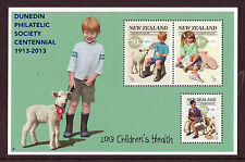 NEW ZEALAND 2013 CHILDRENS HEALTH MINIATURE SHEET OVPT. DUNEDIN SCARCE