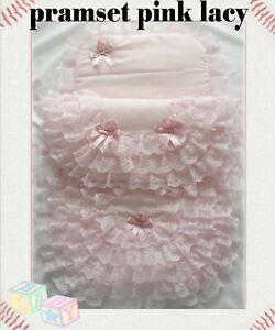 New Handmade Babie's 2 Piece Lacy Pramset Pram set Blanket Quilt Romany lace