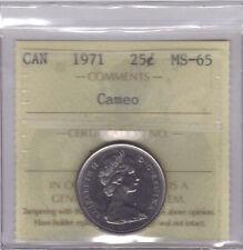 "**1971** Canadian 25 Cents ""Cameo""- ICCS MS-65 **NO SALES TAX**"