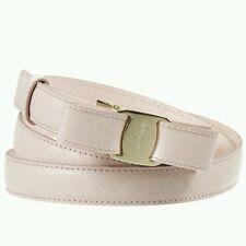 "NWT NEW Salvatore Ferragamo women's pink leather Vara bow belt 75cm 30"""