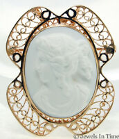 Cameo Style Brooch 14k Yellow Gold Filigree