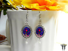 Beauty and the Beast Inspired Stained Glass Enchanted Rose Cameo Earrings