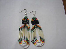 porcupine quill  Earrings NEW Navajo Green orange and yellow looped 3 1/2""